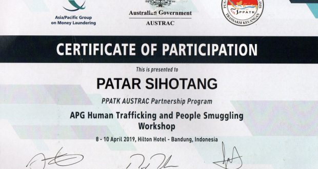 Patar Sihotang SH MH ,Chairman HTW ikut Work Shop APG Human Trafficking and people Smuggling
